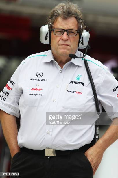 Mercedes Motorsport boss Norbert Haug is seen during qualifying for the Hungarian Formula One Grand Prix at the Hungaroring on July 30 2011 in...
