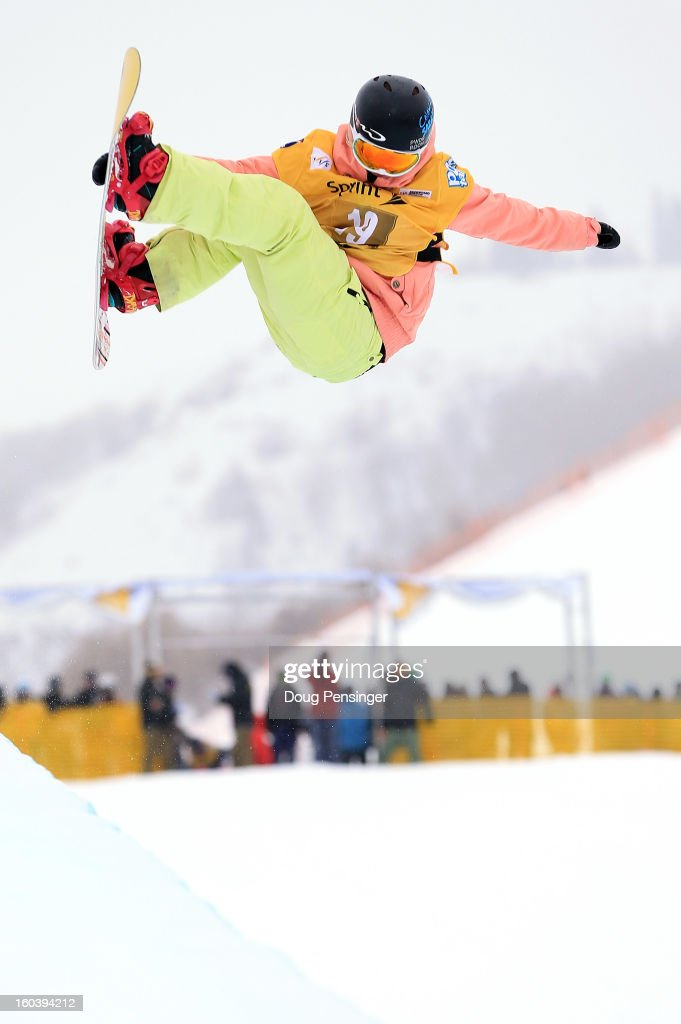Mercedes Nicoll of Canada competes during qualifications for the FIS Snowboard Halfpipe World Cup at the Sprint U.S. Grand Prix at Park City Mountain on January 30, 2013 in Park City, Utah.