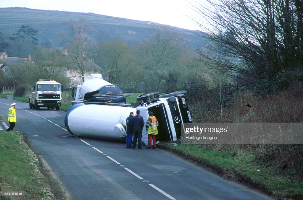Mercedes petrol tanker overturned after road accident 2000
