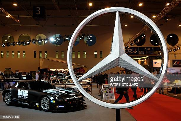 Mercedes race cars are on display at the Essen Motor Show on November 30 2015 at the fair grounds in Essen western Germany The motor show presents...