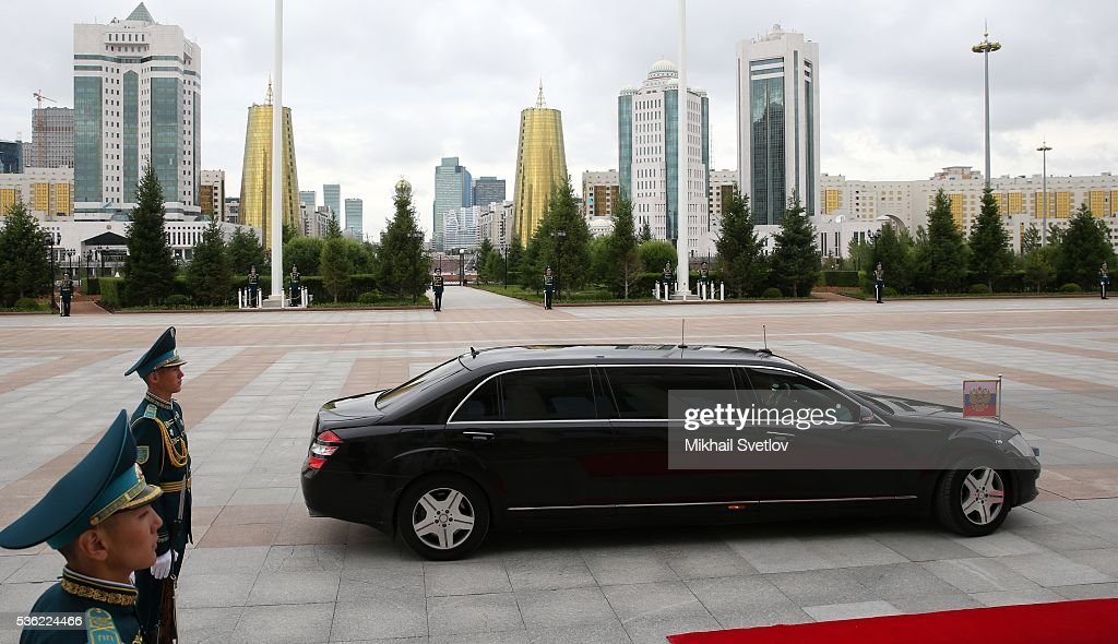 Mercedes S-classe Pullman S600L with Rusian President Vladimir Putin is seen during the Eurasian Economic Union Summit at the Akorda Palace on May 31, 2016 in Astana, Kazakhstan. Leaders of Russia, Belarus, Armenia, Kazakhstan and Kyrgyzstan have gathered in Astana for the Eurasian Economic Union Summit.
