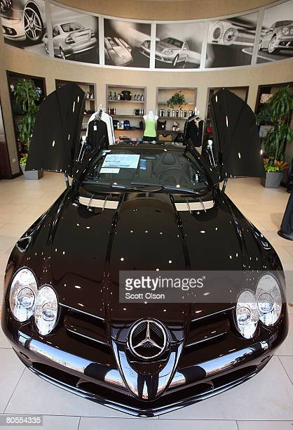 Mercedes SLR McLaren Roadster sits inside a Mercedes Benz of Chicago dealership April 7 2008 in Chicago Illinois Mercedes sales were off 37 percent...