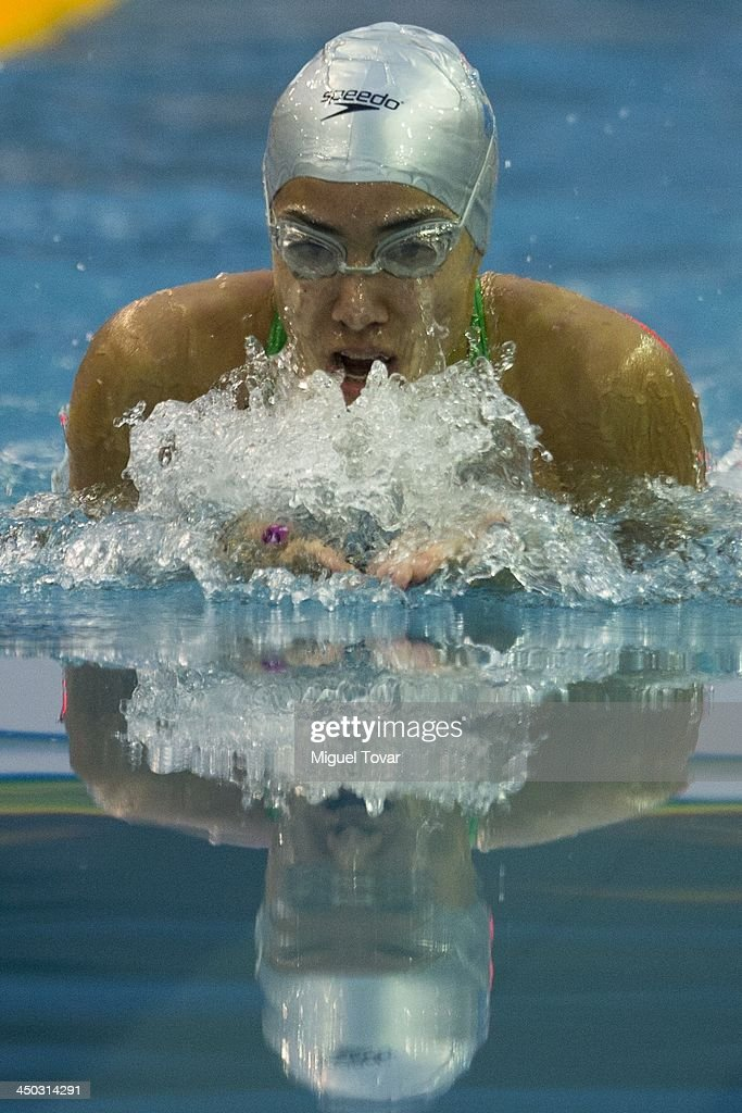 Mercedes Toledo of Venezuela competes in the women's 50 meter breaststroke as part of the XVII Bolivarian Games Trujillo 2013 at Mansiche Stadium on November 17, 2013 in Trujillo, Peru.