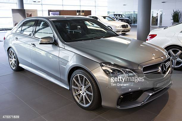 MercedesAMG E63 AMG V8 biturbo saloon car in MercedesAMG showroom and gallery in Stuttgart Bavaria Germany
