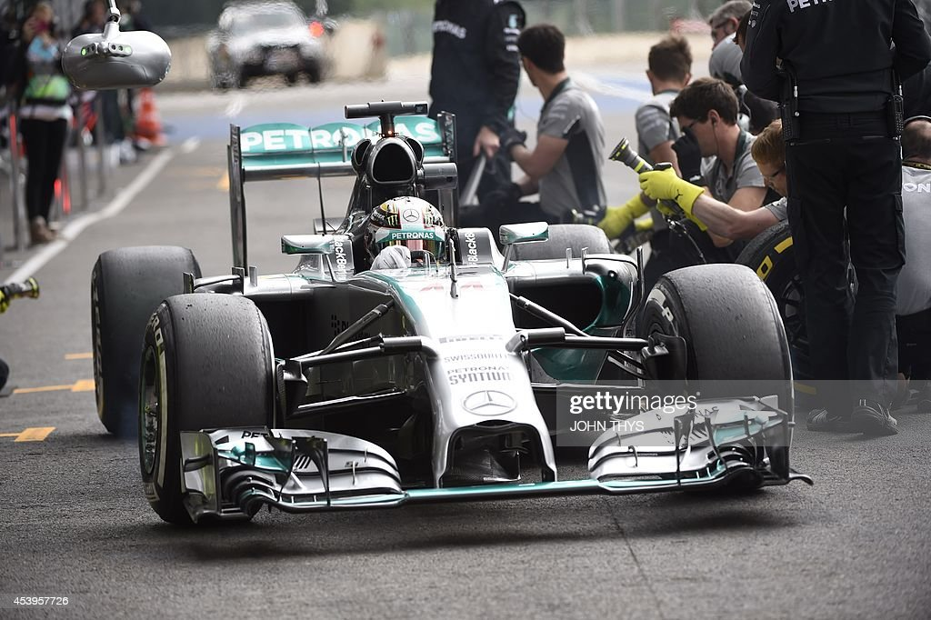 Mercedes-AMG's British driver Lewis Hamilton leaves the pits during the second practice session at the Spa-Francorchamps circuit in Spa on August 22, 2014 ahead of the Belgium Formula One Grand Prix.