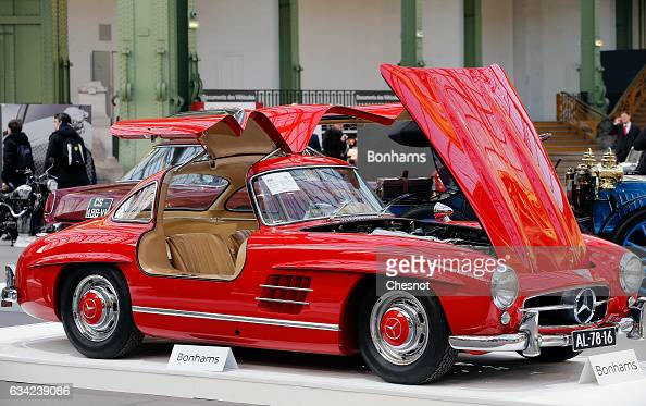 MercedesBenz 300 SL 'Butterfly' 1955 is displayed during a press preview before a mass auction of vintage vehicles organised by Bonhams auction house...
