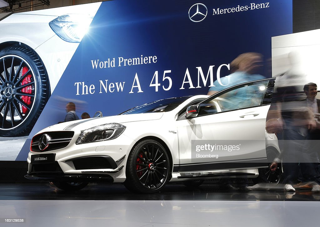 A Mercedes-Benz A 45 AMG automobile, produced by Daimler AG, is seen on display on the first day of the 83rd Geneva International Motor Show in Geneva, Switzerland, on Tuesday, March 5, 2013. This year's show opens to the public on Mar. 7, and is set to feature more than 100 product premiers from the world's automobile manufacturers. Photographer: Valentin Flauraud/Bloomberg via Getty Images