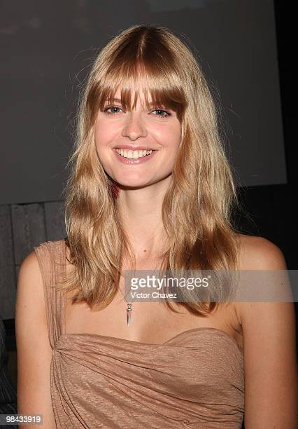 MercedesBenz ambassador Julia Stegner attends the Sergio Bustamante showroom during MercedesBenz Fashion Mexico Autumn Winter 2010 at Campo Marte on...