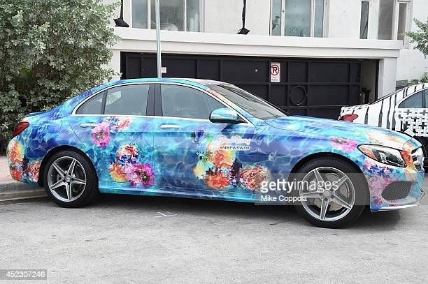 MercedesBenz CClass featuring an exclusive design by Beach Bunny on display during MercedesBenz Fashion Week Swim 2015 at The Raleigh on July 17 2014...