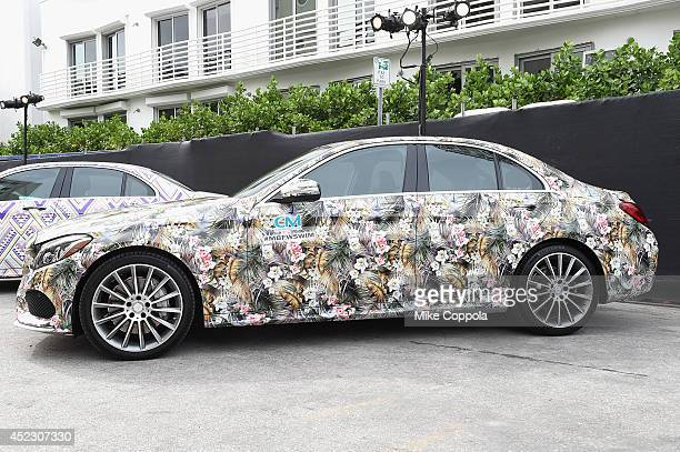 MercedesBenz CClass featuring an exclusive design by CM CiaMaritima on display during MercedesBenz Fashion Week Swim 2015 at The Raleigh on July 17...