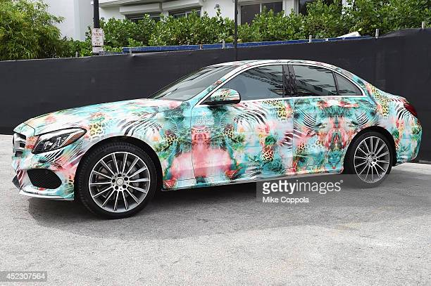 MercedesBenz CClass featuring an exclusive design by Luli Fama Miami on display during MercedesBenz Fashion Week Swim 2015 at The Raleigh on July 17...