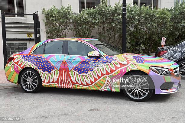 MercedesBenz CClass featuring an exclusive design by Mara Hoffman on display during MercedesBenz Fashion Week Swim 2015 at The Raleigh on July 17...