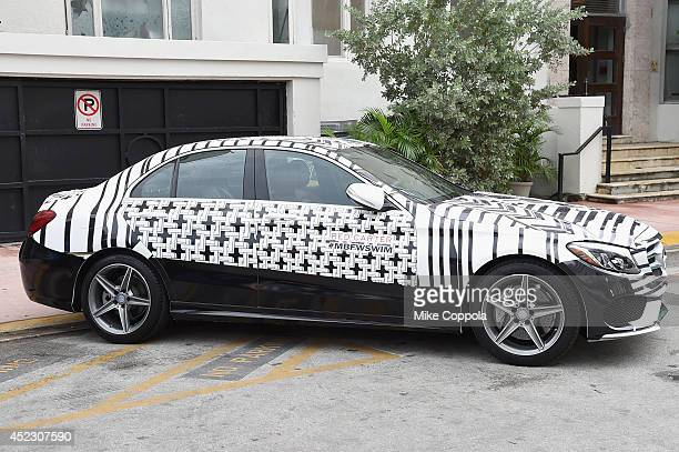 MercedesBenz CClass featuring an exclusive design by Red Carter on display during MercedesBenz Fashion Week Swim 2015 at The Raleigh on July 17 2014...
