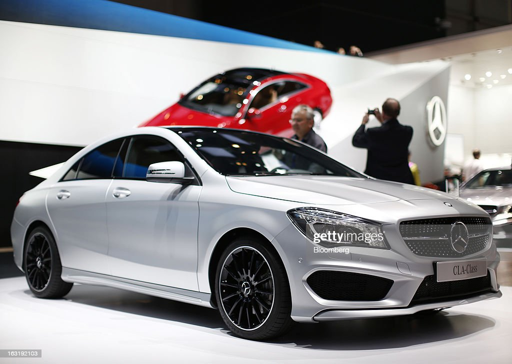 A Mercedes-Benz CLA-Class automobile, produced by Daimler AG, is seen on display on the first day of the 83rd Geneva International Motor Show in Geneva, Switzerland, on Tuesday, March 5, 2013. This year's show opens to the public on Mar. 7, and is set to feature more than 100 product premiers from the world's automobile manufacturers. Photographer: Valentin Flauraud/Bloomberg via Getty Images