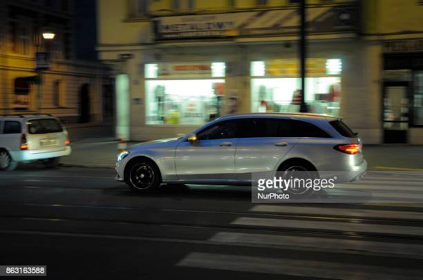 A MercedesBenz Class E Break is seen in the center of the city on 19 October 2017