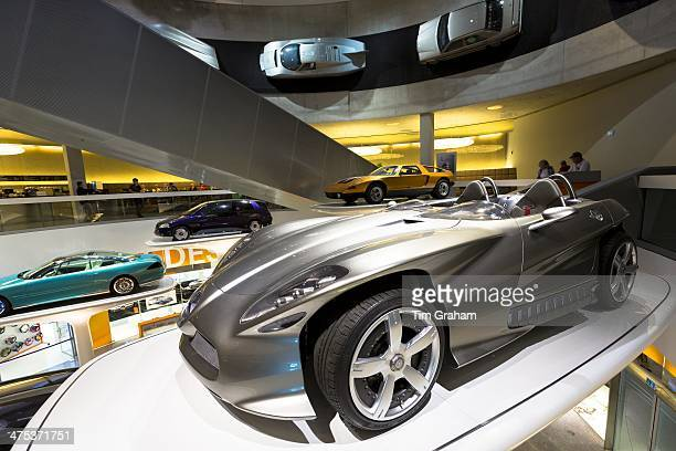 MercedesBenz concept cars in museum gallery in Stuttgart Germany In front is Mercedes F400 Carving V6 presented 2001