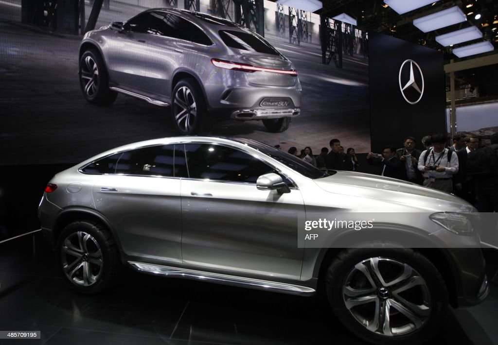 A Mercedes-Benz Coup SUV car on display at the China International Exhibition Center new venue during the 'Auto China 2014' Beijing International Automotive Exhibition in Beijing on April 20, 2014. Leading automakers are gathering in Beijing for the kickoff of China's biggest car show, but lackluster growth and environmental restrictions in the world's largest car market have thrown uncertainty into the mix. More than 1,100 vehicles are being showcased at the auto show, which opens to the public on April 21. CHINA