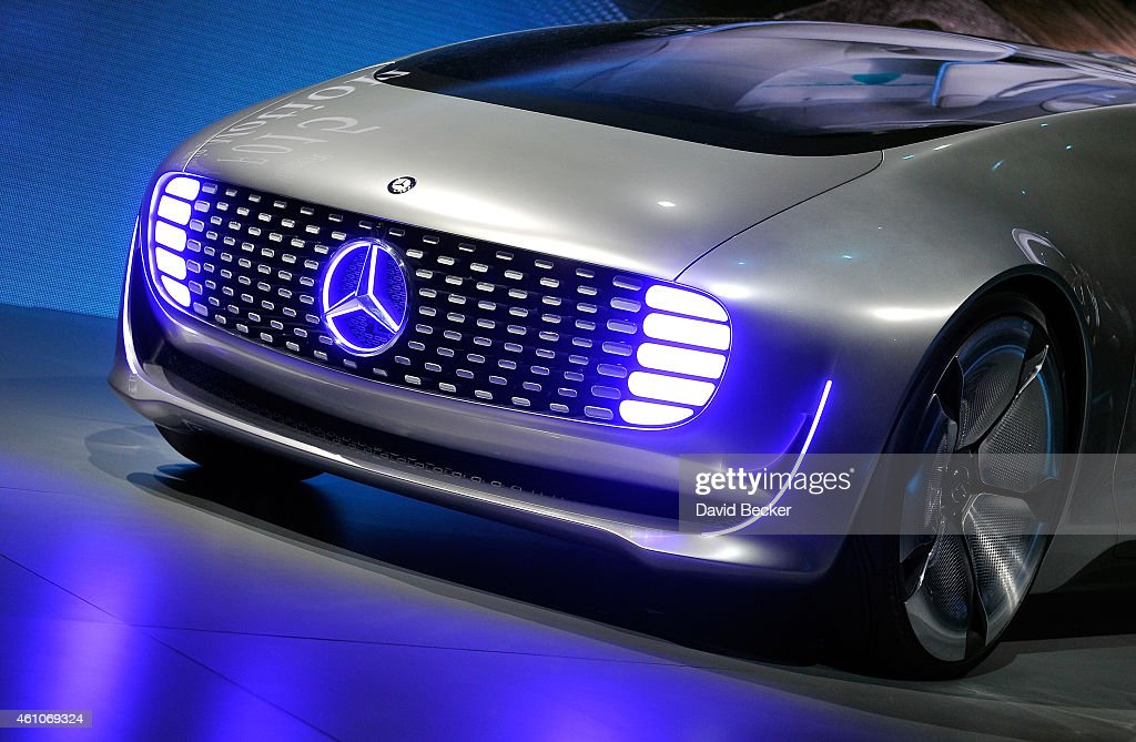 MercedesBenz F 015 autonomous driving automobile is displayed at the MercedesBenz press event at The Chelsea at The Cosmopolitan of Las Vegas for the...