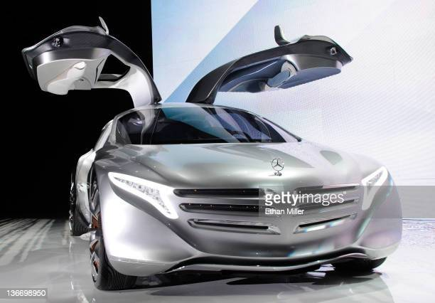 MercedesBenz F125 gullwing coupe research car is displayed before a keynote address by Daimler AG Chairman and head of MercedesBenz Cars Dr Dieter...