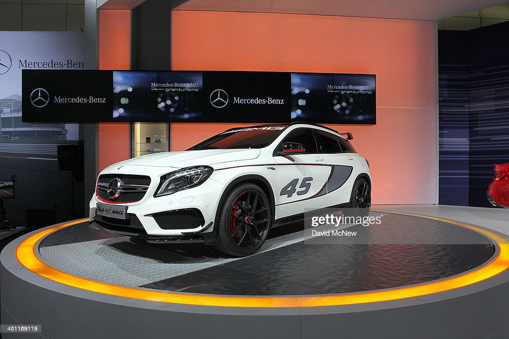 A Mercedes-Benz GLA 45 AMG concept is displayed during media preview days at the 2013 Los Angeles Auto Show on November 20, 2013 in Los Angeles, California. The LA Auto Show was founded in 1907 and is one of the largest with more than 20 world debuts expected. The show will be open to the public November 22 through December 1.