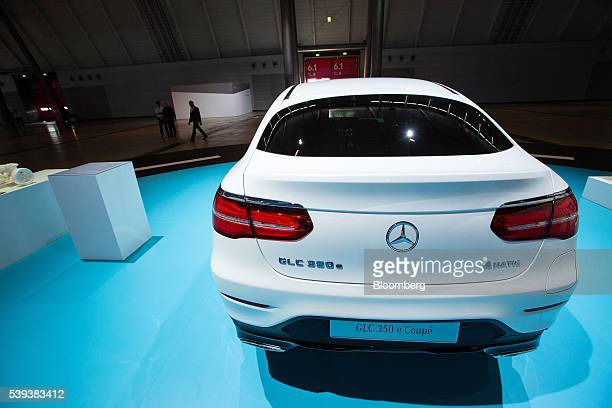 A MercedesBenz GLC 350e pluginhybrid automobile sits on display during Daimler AG's TecDay Road to the Future event in Stuttgart Germany on Thursday...