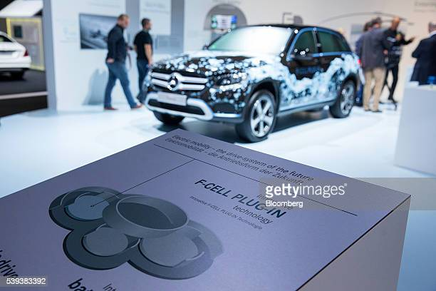 A MercedesBenz GLC FCell hybrid plugin SUV automobile prototype stands on display during Daimler's TecDay Road to the Future event in Stuttgart...