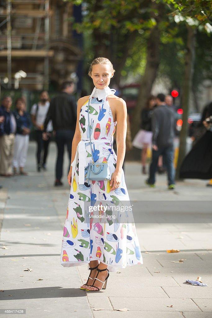 MercedesBenz Kiev Fashion Days Creative Director Daria Shapovalova wears an Anton Belinskiy dress Dior shoes and a Prada purse before JW Anderson on...
