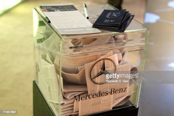 MercedesBenz raffle box is seen at Mercedes Benz Fashion Week held at Smashbox Studios on October 16 2007 in Culver City California