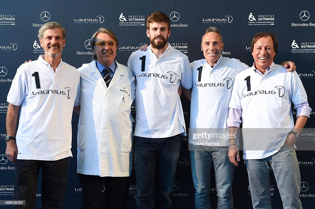 Mercedes-Benz Spain Communication Director Enrique Aguirre, Institut Guttmann Director Doctor Josep M. Ramirez, FC Barcelona player and Laureus Ambassadors <a gi-track='captionPersonalityLinkClicked' href=/galleries/search?phrase=Gerard+Pique&family=editorial&specificpeople=227191 ng-click='$event.stopPropagation()'>Gerard Pique</a> and former tennis player <a gi-track='captionPersonalityLinkClicked' href=/galleries/search?phrase=Alex+Corretja&family=editorial&specificpeople=211620 ng-click='$event.stopPropagation()'>Alex Corretja</a> and Laureus Foundation Spain President Gabriel Masfurroll pose on April 9, 2015 in Barcelona, Spain.