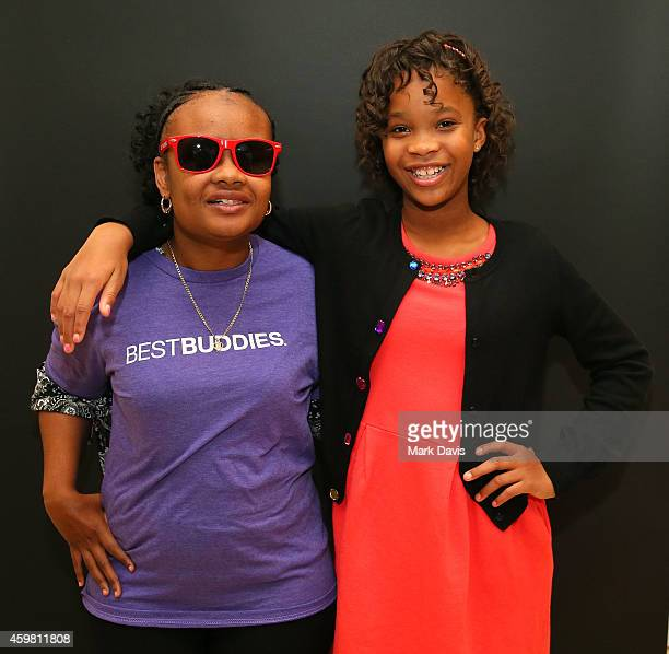 Mercedez Clark and Quvenzhane Wallis pose at the Best Buddies screening of 'Annie' held at Sony Studios on December 1 2014 in Los Angeles California