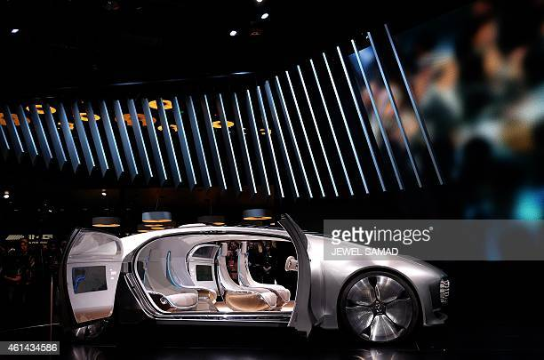 MercedezBenz reveals their F015 autonomous electric car to the media at The North American International Auto Show in Detroit Michigan on January 12...