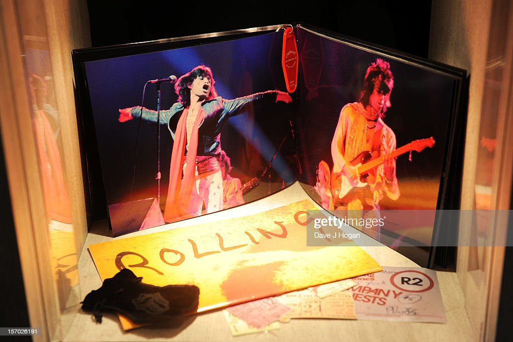 Merchandise and memorabilia on display at the opening party for the Rolling Stones pop up shop on Caranaby Street on November 27, 2012 in London, England.