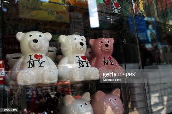 Merchandise bearing the 'I Love New York' logo is displayed at a store in Times Square on May 10 2010 in New York City As a result of a $92 billion...