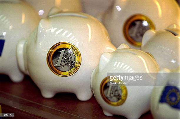Merchandise emblazoned with Euro monetary symbols are on display December 26 2001 in local gift shops in Brussels Germany The Euro is the new single...