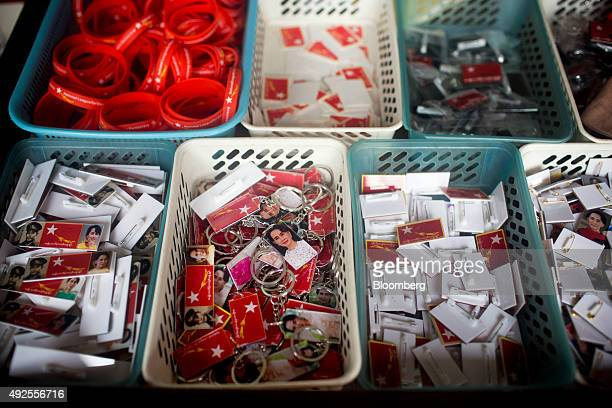 Merchandise featuring Aung San Suu Kyi Myanmar's opposition leader and chairperson of the National League for Democracy are displayed for sale at the...