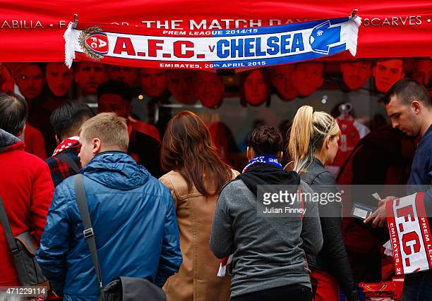 Merchandise for sale prior to the Barclays Premier League match between Arsenal and Chelsea at Emirates Stadium on April 26 2015 in London England