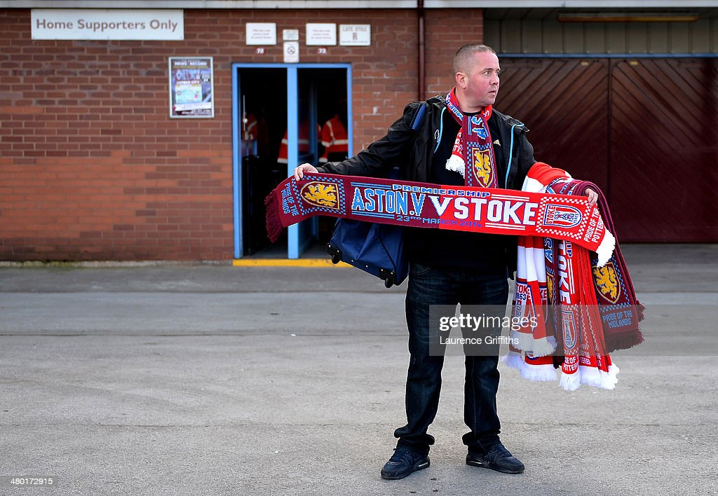 Merchandise goes on sale prior to kickoff during the Barclays Premier League match between Aston Villa and Stoke City at Villa Park on March 23, 2014 in Birmingham, England.