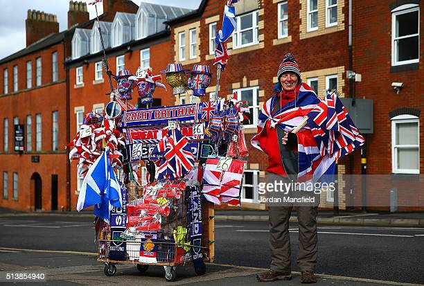 Merchandise goes on sale prior to play on day two of the Davis Cup World Group first round tie at the Barclaycard Arena on March 5 2016 in Birmingham...