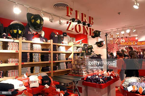 Merchandise is displayed at the new Fire Zone store at Bloomingdales December 19 2001 in New York City Fire Zone which sells products with the New...