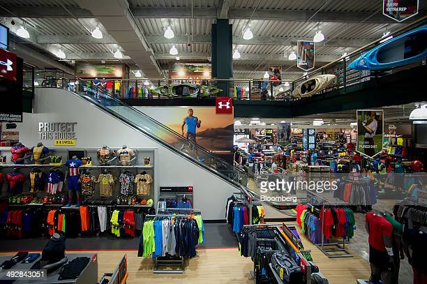 Merchandise is displayed for sale at a Dick's Sporting Goods Inc store in West Nyack New York US on Wednesday May 21 2014 Dick's Sporting Goods Inc...