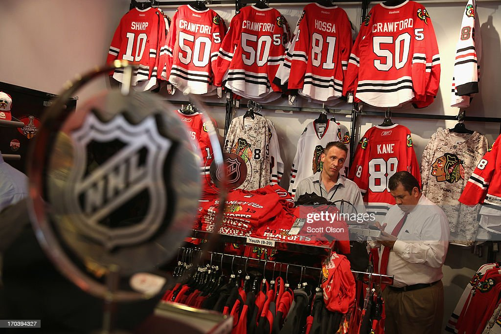 Merchandise is displayed for sale in the Blackhawks Store on Michigan Avenue in the Loop on June 12, 2013 in Chicago, Illinois. The Chicago Blackhawks will match up against the Boston Bruins tonight at the United Center in the first game on the NHL Stanley Cup playoffs.