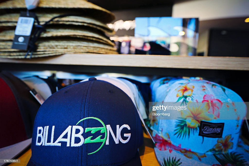 Merchandise is displayed for sale inside a Billabong International Ltd. retail store at the company's headquarters in Burleigh Heads, Australia, on Wednesday, Aug. 28, 2013. Billabong, the surf brand founded in 1973, helped sell Australian surfing culture worldwide and rose to a market value of A$3.84 billion ($3.45 billion) at its peak in 2007 said its 40-year-old surf brand was worthless after the companys losses tripled amid store closures, firings and a breach of debt terms. Photographer: Patrick Hamilton/Bloomberg via Getty Images