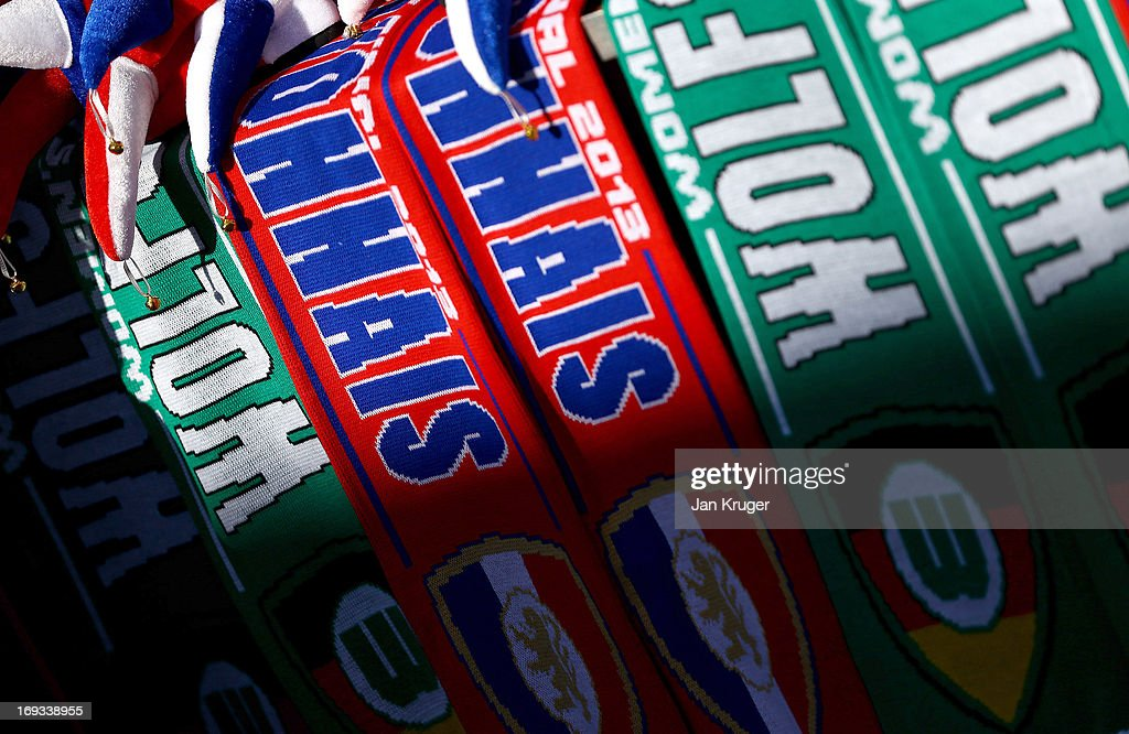 Merchandise on sale ahead of the UEFA Women's Champions League final match between VfL Wolfsburg and Olympique Lyonnais at Stamford Bridge on May 23, 2013 in London, England.