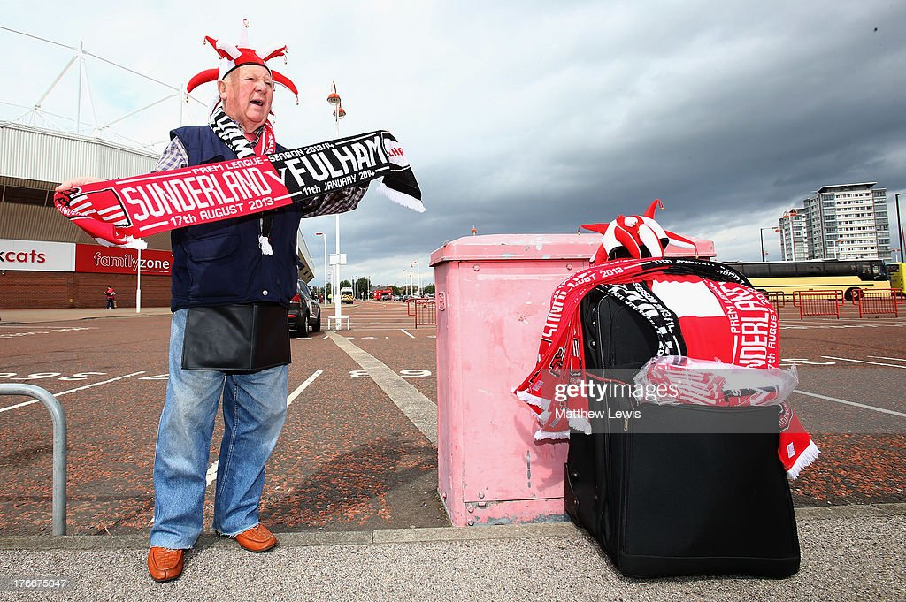 A merchandise seller pictured ahead of the Barclays Premier League match between Sunderland and Fulham at the Stadium of Light on August 17, 2013 in Sunderland, England.