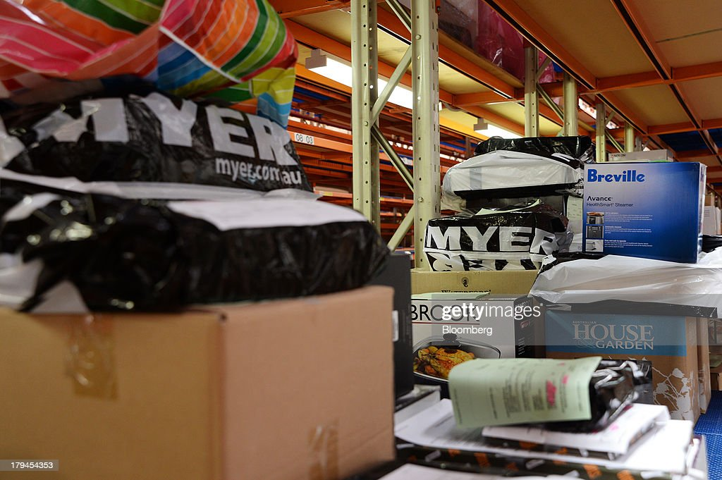 Merchandise sit on a shelf as they await distribution at the Myer Holdings Ltd. distribution center in Melbourne, Australia, on Tuesday, Sept. 3, 2013. A Bureau of Statistics report released in Sydney on Sept. 4 showed household spending climbed 0.4 percent in the second quarter, adding 0.2 percentage point to gross domestic product growth. Photographer: Carla Gottgens/Bloomberg via Getty Images