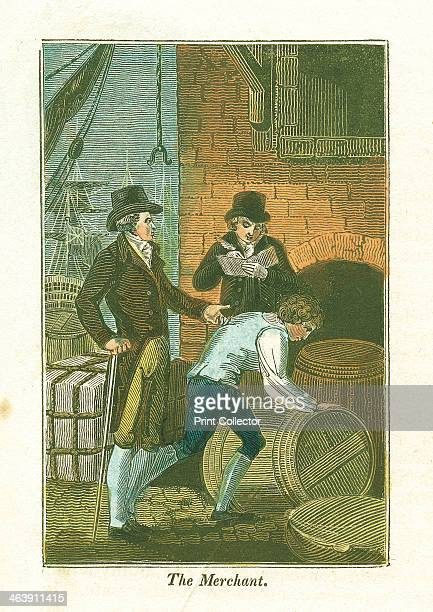 Merchant and his clerk at the dockside checking goods at a warehouse 1823 From The Book of English Trades