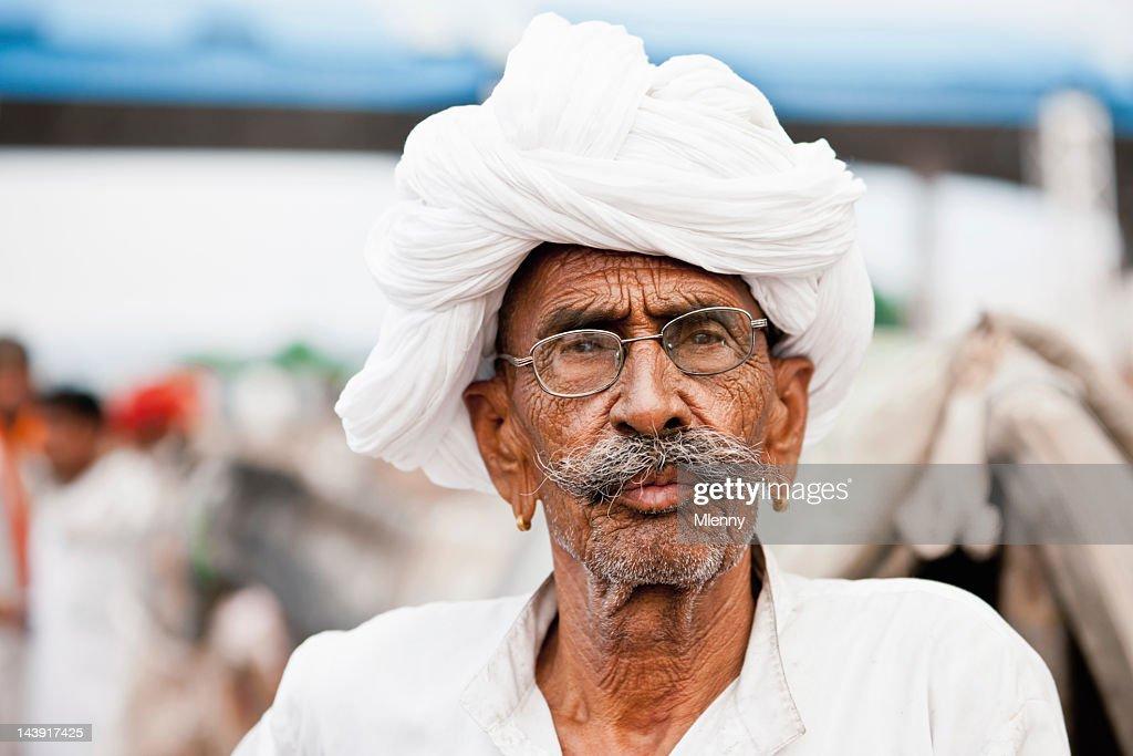 Merchant at Pushkar Camel Fair India Real People Portrait : Stock Photo