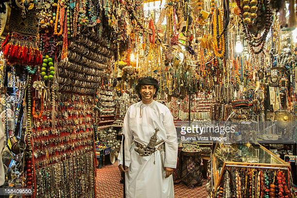 Merchant in his shop in the Souk of Muscat.