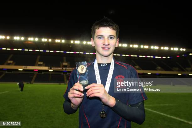 Merchiston's Alistair Middleton with the man of the match award following the Under 16's Cup Final at Murrayfield Edinburgh