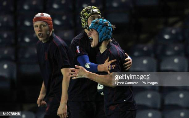 Merchiston's Benjamin Kenderdine celebrates a try during the Under 16's Cup Final at Murrayfield Edinburgh PRESS ASSOCIATION Photo Picture date...
